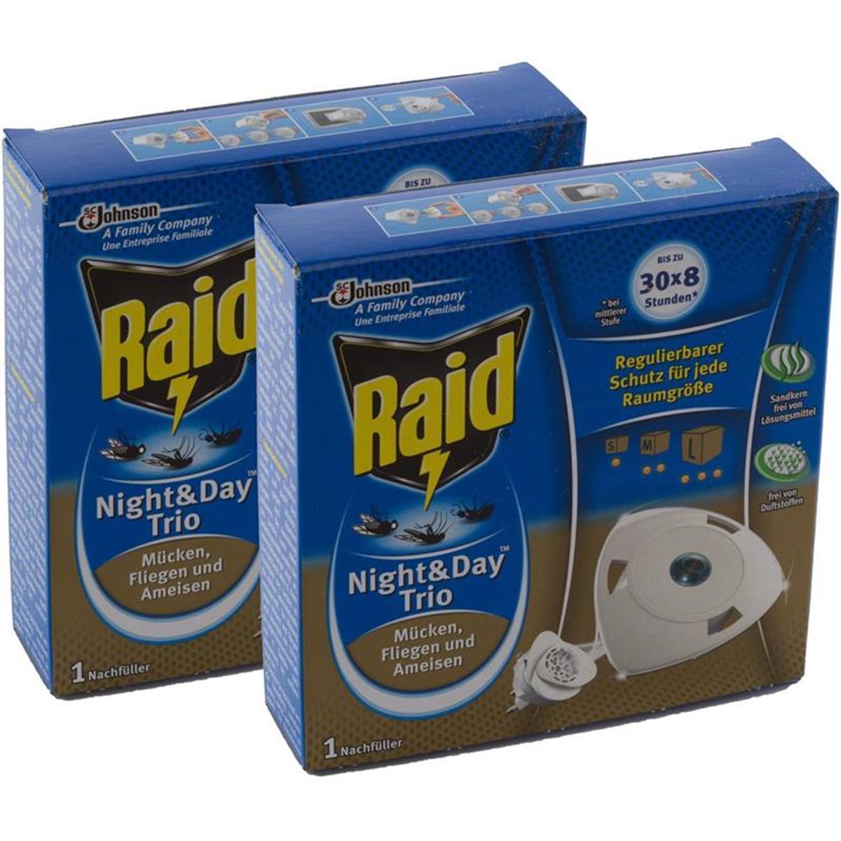 2x raid night day trio insekten stecker nachf ller gegen m cken fliegen ameisen. Black Bedroom Furniture Sets. Home Design Ideas