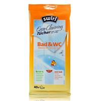 Swirl Bad & WC Reinigungs Tücher Easy-Cleaning - 100% kompostierbar, Anti-Kalk, 40 Tücher