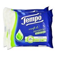 Tempo Feuchte Toilettentücher sanft & sensitiv Duo-Nachfüllpackung, mit Aloe Vera 2x42er