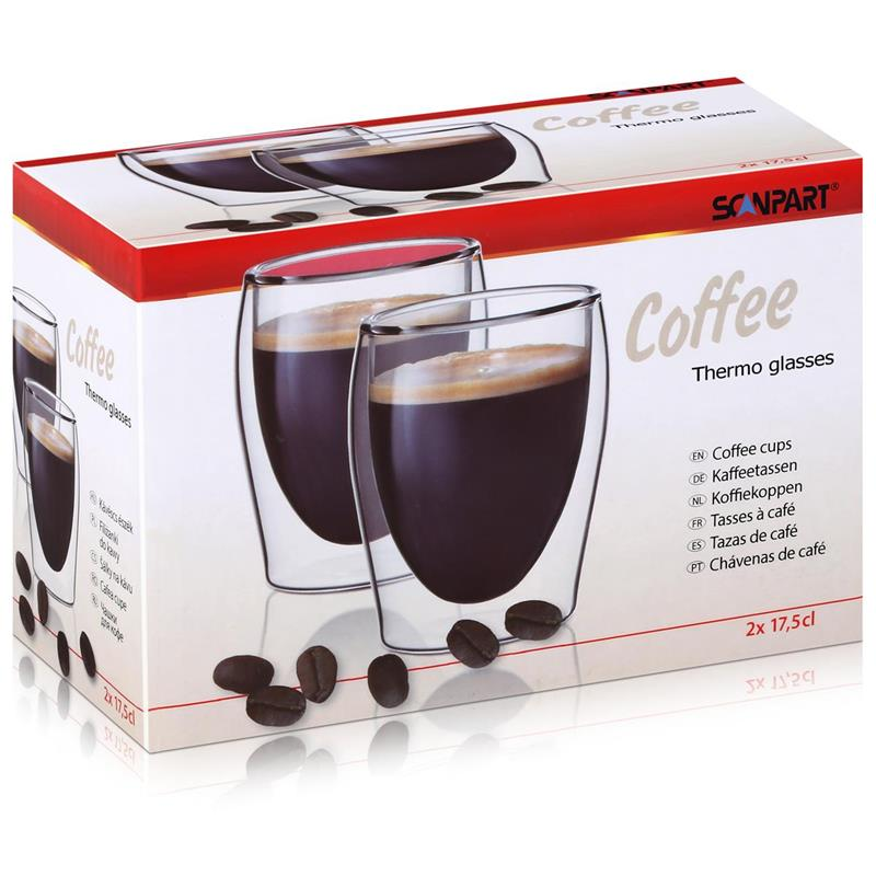SCANPART Kaffeeglas Thermogläser 2x20cl - Doppelwandiges Thermoglas (1er Pack)