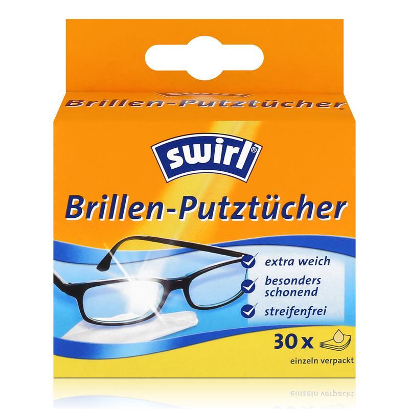 Swirl Brillen Putztücher 30 stk. Tücher - Mit Anti-Beschlag-Effekt (1er Pack)