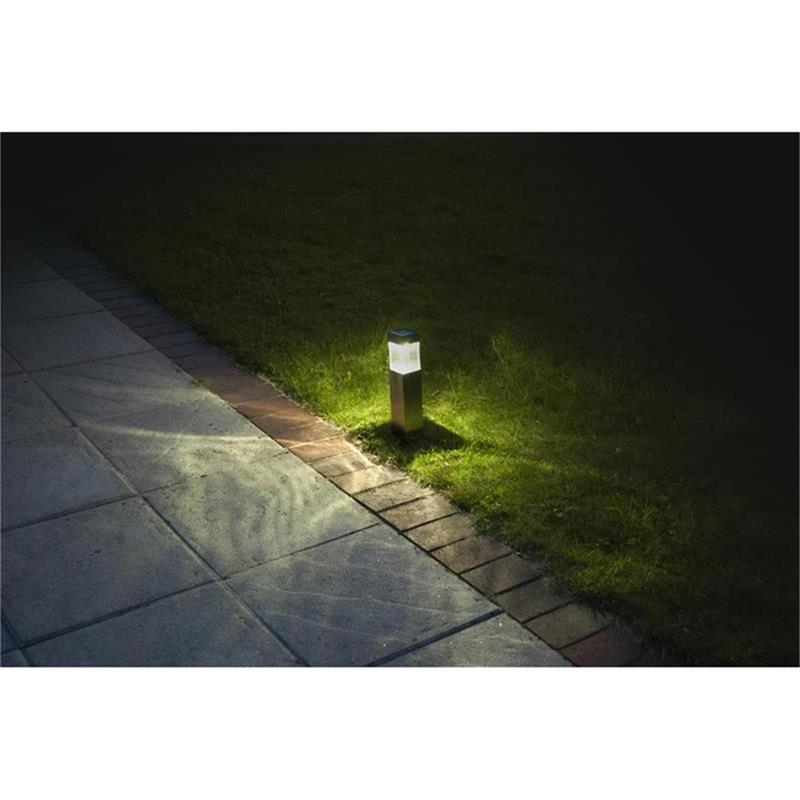 Duracell LED Solar Garten-Lampe (4 Stück) gebürstetes Metall matt 5 Lumen
