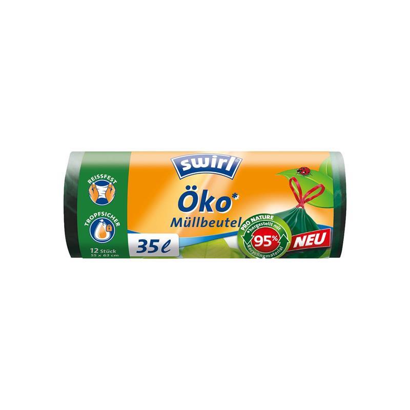 Swirl Öko Müllbeutel 35L 12 stk./ Rolle mit Zugband