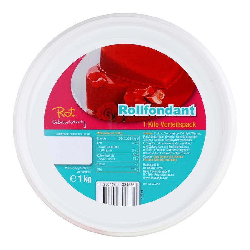 Dekoback Decocino Rollfondant Rot 1kg - Kreativ backen (1er Pack)