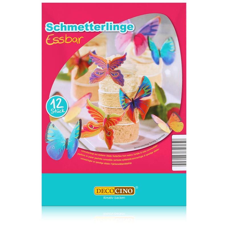 Dekoback Decocino essbare Schmetterlinge 12 Stück - Oblaten 4g (1er Pack)