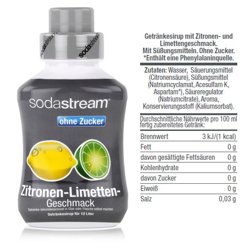 SodaStream Getränke-Sirup ohne Zucker Zitronen-Limetten Geschmack 500ml (1er Pack)