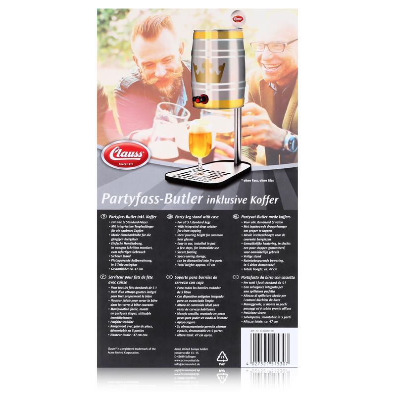 Clauss CL-60001 00 Bierfasshalter Standard 5L Fässer - Edelstahl - mit Alukoffer