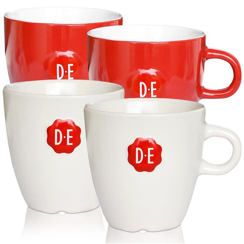 4x douwe egberts senseo porzellan tasse 260 ml2x rot und 2x beige mit d e logo. Black Bedroom Furniture Sets. Home Design Ideas