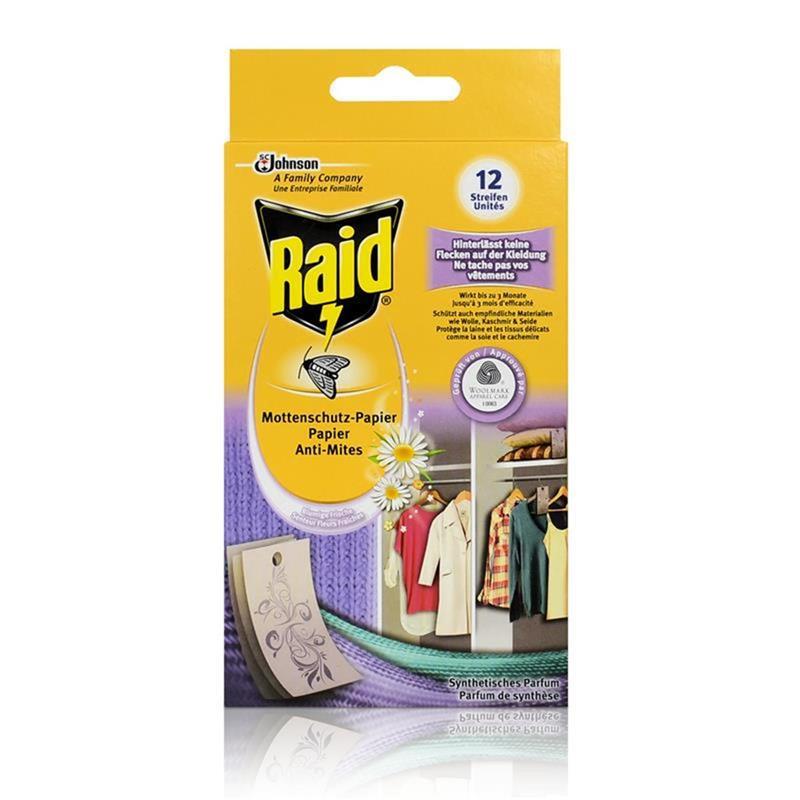 Raid Mottenschutz-Papier Blumige Frische 12 Streifen - Hinterlässt keine Flecken auf Kleidung
