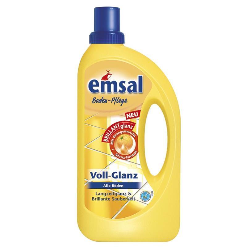emsal Boden-Pflege Voll-Glanz 1 Liter, Langzeitglanz & Brillante Sauberkeit mit Orangenwachs