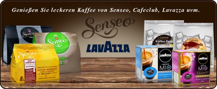 Kaffeepads und Kapseln von Senseo, Lavazza oder Cafeclub