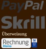 Unsere Zahlungsarten wie Paypal, Skrill,, Überweisung und  Rechnungskauf mit Klarna