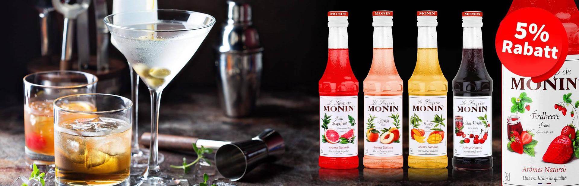 5% Rabatt auf alle Produkte von Monin Sirup