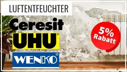 5% Rabatt Angebote für Luftentfeuchter der Marke Ceresit, UHU und Wenko